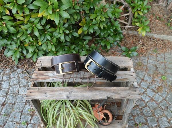 Pull up Ledergürtel 35mm mit Ziernaht handgenäht