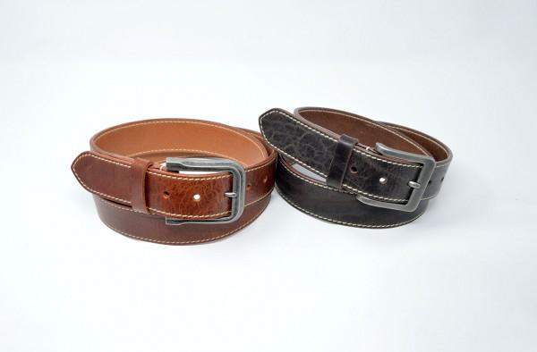 Vintage Ledergürtel 30mm mit Ziernaht handgenäht