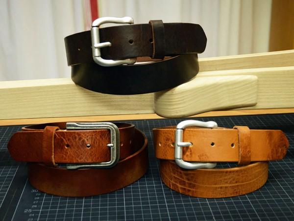 Vintage Ledergürtel 35mm ohne Ziernaht handgenäht