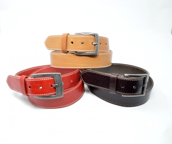 Classic Soft Ledergürtel 40mm mit Ziernaht handgenäht