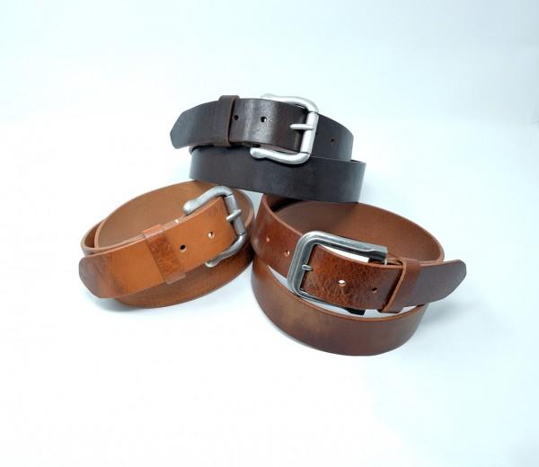 Vintage Ledergürtel 40mm ohne Ziernaht handgenäht
