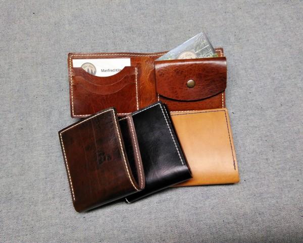 Geldbörse handgenäht Münzfach klein